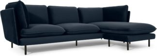 An Image of Wes 3 Seater Chaise End Corner Sofa, Sapphire Blue Velvet