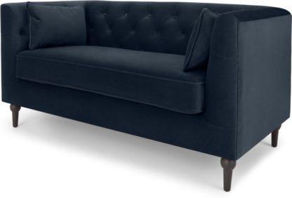 An Image of Flynn 2 Seater Sofa, Sapphire Blue Velvet