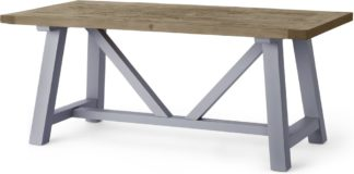An Image of Iona 8 Seat Large Dining Table, Solid Pine and Pebble Grey
