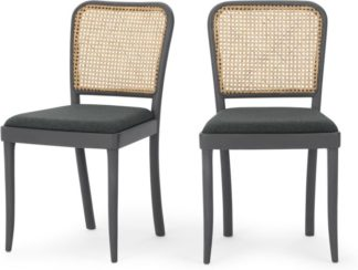 An Image of Set of 2 Raleigh Dining chairs, Charcoal and Rattan