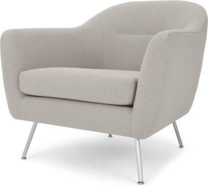 An Image of Reece Armchair, Mina Flint Grey with Metal Legs