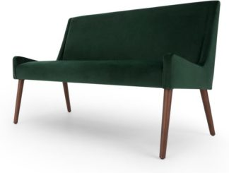 An Image of Higgs Upholstered Bench, Pine Green Velvet