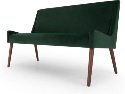 An Image of Higgs Upholstered Bench, Pine Green Velvet