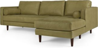 An Image of Scott 4 Seater Right Hand Facing Chaise End Corner Sofa, Chalk Olive Premium Leather