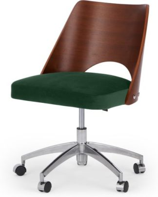 An Image of Hailey Swivel Office Chair, Walnut and Pine Green Velvet
