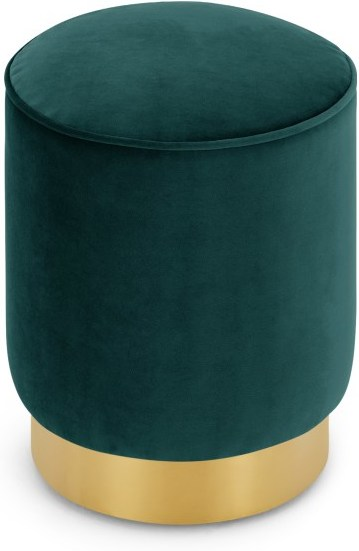 An Image of Hetherington Small Brass Base Pouffe, Seafoam Blue Velvet
