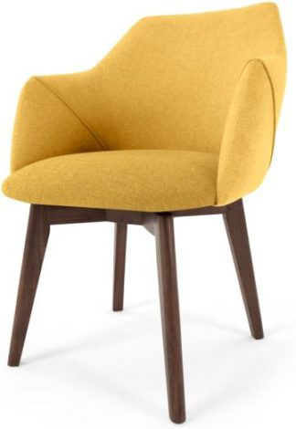 An Image of Lule Office Chair, Yellow and Walnut
