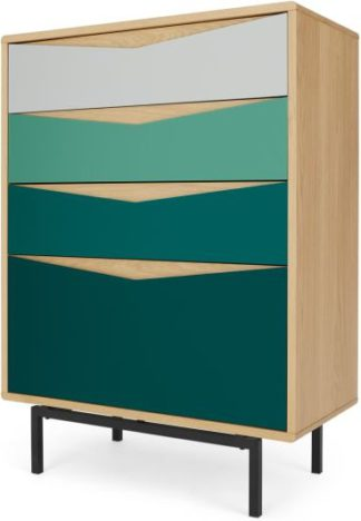 An Image of Louis Tall Chest Of Drawers, Oak & Green