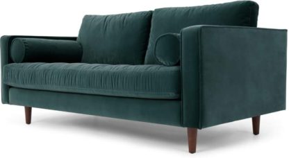 An Image of Scott Large 2 Seater Sofa, Petrol Cotton Velvet