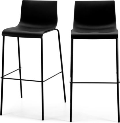 An Image of Set of 2 Piloti Barstools, Black