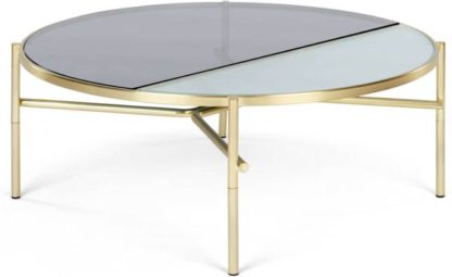 An Image of Stanley Coffee Table, Smoked Rippled Glass and Brass