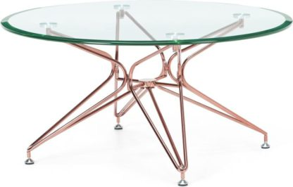 An Image of Belden Coffee Table Clear Glass & Copper