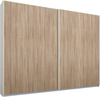 An Image of Malix 2 door 225cm Sliding Wardrobe, White frame,Oak doors, Standard Interior