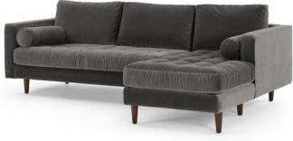 An Image of Scott 4 Seater Right Hand Facing Chaise End Corner Sofa, Concrete Cotton Velvet