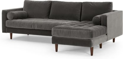 An Image of Scott 4 Seater Right Hand Facing Chaise End Corner Sofa, Concrete Cotton Velvet
