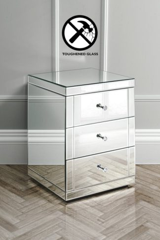An Image of Pair of LUCIA Toughened Mirrored Bedside Tables with 3 Drawers