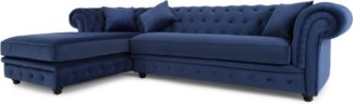 An Image of Branagh Left Hand Facing Chaise End Corner Sofa, Electric Blue Velvet