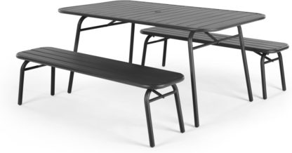 An Image of MADE Essentials Tice Garden Dining Bench Set, Grey