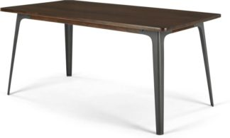 An Image of Edny 6 Seat Dining Table, Dark Mango Wood and Gunmetal