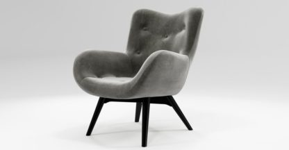 An Image of Custom MADE Doris Accent Chair, Steel Grey Velvet with Black Wood Leg