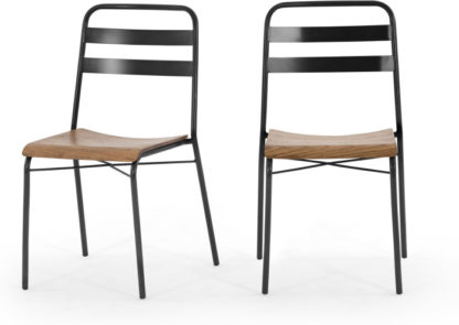 An Image of Set of 2 Wigbert Dining Chairs, Pine and Black