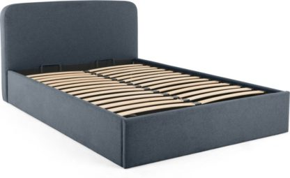 An Image of MADE Essentials Besley King Size Bed with Storage, Aegean Blue