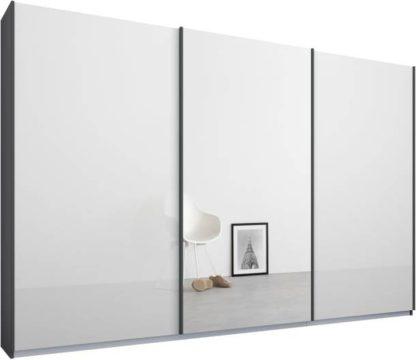 An Image of Malix 3 door 270cm Sliding Wardrobe, Graphite Grey frame,White Glass & Mirror doors , Classic Interior