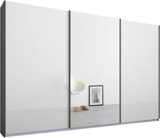An Image of Malix 3 door 270cm Sliding Wardrobe, Graphite Grey frame,White Glass & Mirror doors , Premium Interior