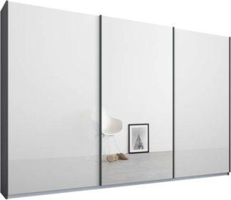 An Image of Malix 3 door 270cm Sliding Wardrobe, Graphite Grey frame,White Glass & Mirror doors, Standard Interior