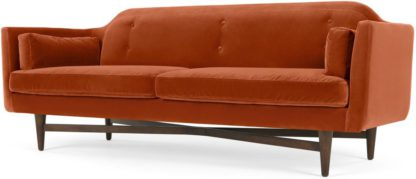 An Image of Imani 3 Seater Sofa, Burnt Orange Cotton Velvet