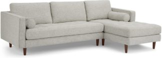 An Image of Scott 4 Seater Right Hand Facing Chaise End Corner Sofa, Ivory Weave