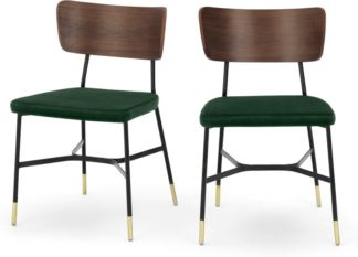 An Image of Set of 2 Amalyn Dining Chairs, Walnut and Pine Green Velvet