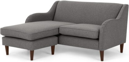 An Image of Helena Chaise End Corner Sofa, Textured Weave Smoke Grey