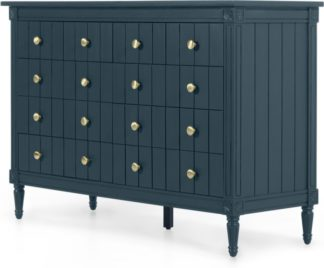 An Image of Bourbon Wide Chest Of Drawers, Vintage Blue