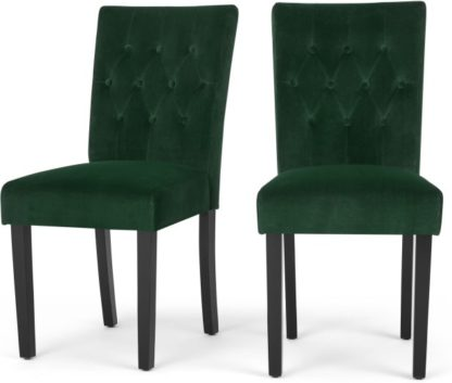 An Image of Set of 2 Flynn Dining Chairs, Black and Pine Green Velvet