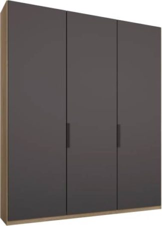 An Image of Caren 3 door 150cm Hinged Wardrobe, Oak Frame, Matt Graphite Grey Doors, Classic Interior