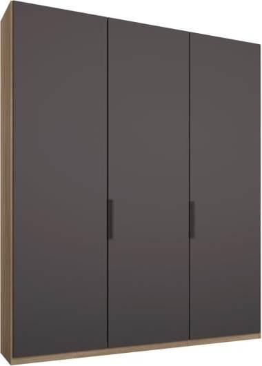 An Image of Caren 3 door 150cm Hinged Wardrobe, Oak Frame, Matt Graphite Grey Doors, Premium Interior