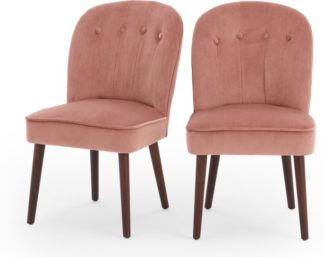An Image of Set of 2 Margot Dining Chairs, Blush Pink Velvet