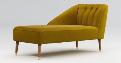 An Image of Custom MADE Margot Left Hand Facing Chaise, Antique Gold Cotton Velvet with Light Wood Brass Leg