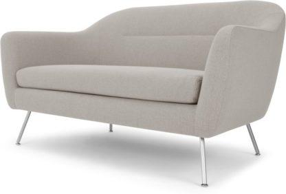 An Image of Reece 2 Seater Sofa, Mina Flint Grey with Metal Legs