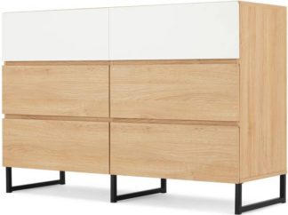An Image of MADE Essentials Hopkins Wide Chest Of Drawers, Oak Effect & White