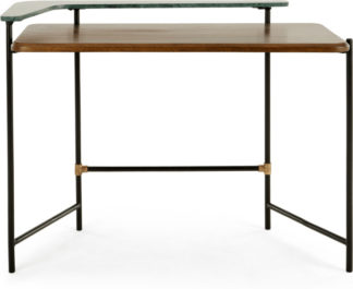 An Image of Ivo Desk, Dark Stain Mango and Green Marble