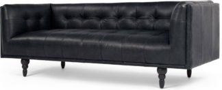 An Image of Connor 3 Seater Sofa, Black Premium Leather