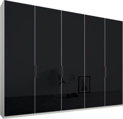 An Image of Caren 5 door 250cm Hinged Wardrobe, White Frame, Basalt Grey Glass Doors, Standard Interior