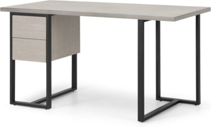 An Image of Claus Concrete Desk, Grey Concrete and Light Oak