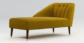 An Image of Custom MADE Margot Left Hand Facing Chaise, Antique Gold Cotton Velvet with Dark Wood Brass Leg