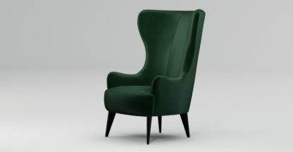 An Image of Custom MADE Bodil Accent Chair, Bottle Green Velvet with Black Wood Leg