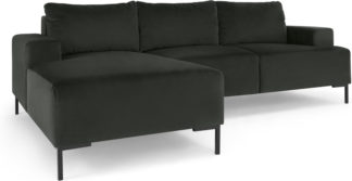 An Image of Frederik 3 Seater Left Hand Facing Compact Corner Chaise End Sofa, Dark Anthracite Velvet