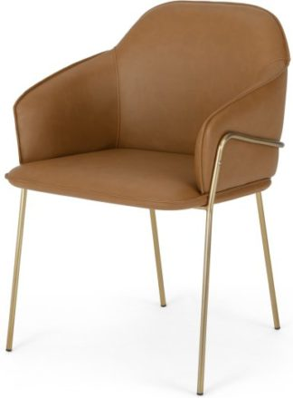 An Image of Stanley Frame Carver Dining chair, Brass and Tan PU