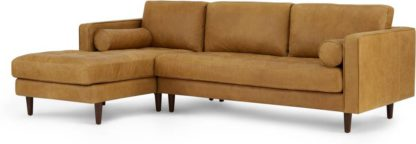 An Image of Scott 4 Seater Left Hand Facing Chaise End Corner Sofa, Charm Tan Premium Leather